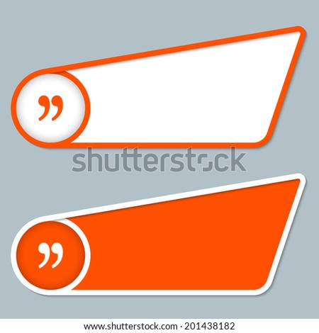 two orange boxes for any text with quotation mark - stock vector