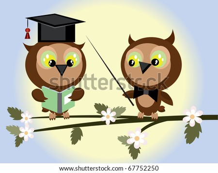 Two owls - stock vector
