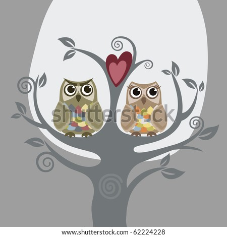 Two owls and love tree - stock vector
