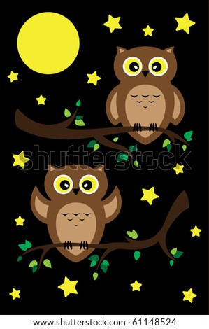 Two owls sit on tree branches in a night landscape with stars and moon. - stock vector