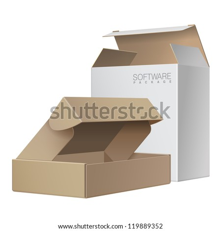 Two Package Box Opened. For Software, electronic device and other products. Vector illustration
