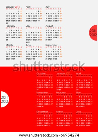 Two page calendar for 2011 and the first six months of 2012. Week starts on Monday. Easy to edit. Space for text or logo. - stock vector