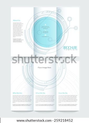 Two pages, Tri Fold business flyer or brochure design with hi-tech statistical circle for your professional presentation. - stock vector