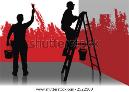 Two painter painting a room in red color, people at work