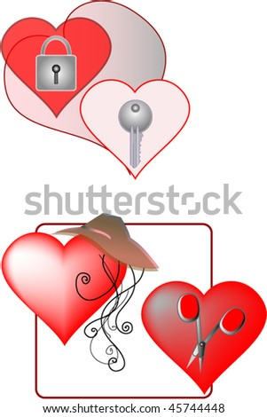 two pairs of hearts - stock vector
