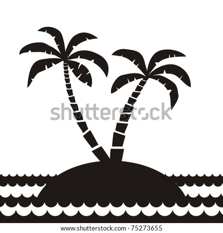 two palm trees on island in the ocean - stock vector