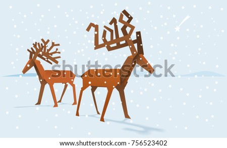 Two paper deers on a snowy background with number 2018