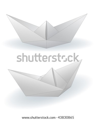 Two paper ships isolated on white - vector in eps8.