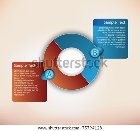two parts presentation diagram with place for description for each item - stock vector