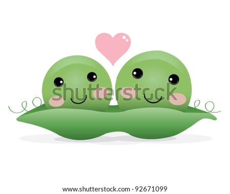 Two Peas in a Pod Illustration - stock vector