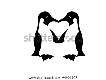 two penguins and heart-shaped space between them - stock vector