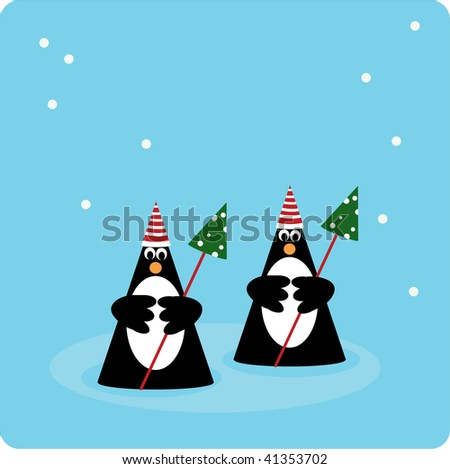 Two penguins in snow environment with christmas trees - stock vector