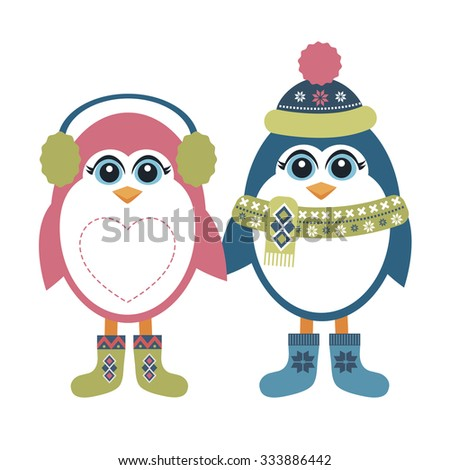 Two penguins in winter - stock vector