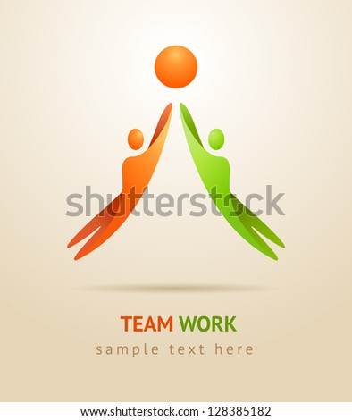 Two people achieve the goal. Business concept. - stock vector
