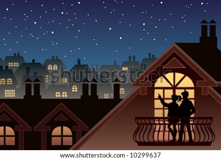 Two people are looking at sky and stars - stock vector