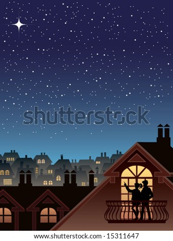 Two people are looking at the sky and stars - stock vector