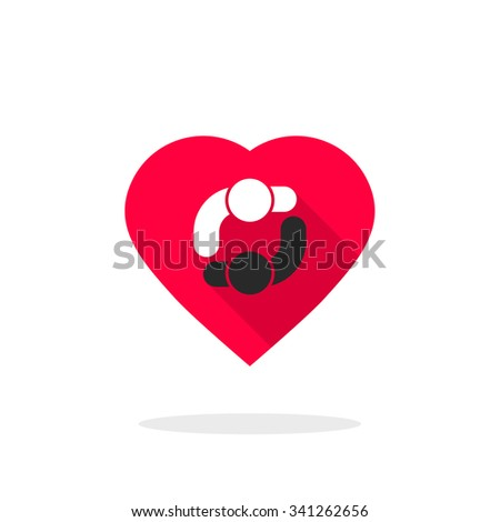 Two people dancing logo in heart Love twosome relation with black white man and woman holding hands Bisexual, heterosexual, rendezvous symbol concept flat style trend modern design vector illustration - stock vector