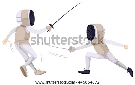 Two people doing fencing illustration