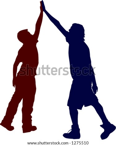 two people giving high five - stock vector
