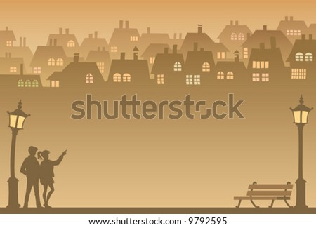 Two people looking for their own home, vector - stock vector