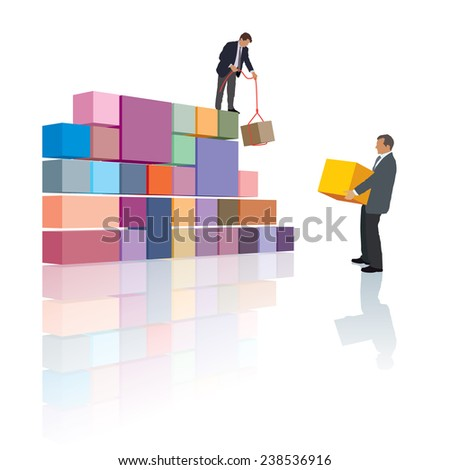 Two people make the company, builds their own business. - stock vector