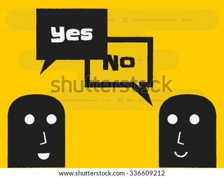 two people say yes or no - stock vector