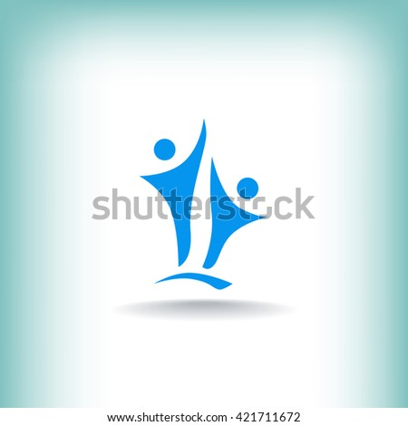 Two people silhouettes reaching up logo