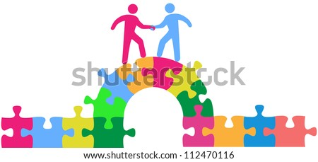 Two people team up climbing bridge to join in a merger make a deal or collaborate - stock vector