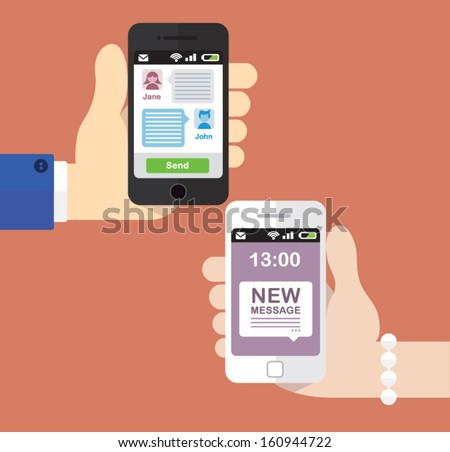 Two people texting each other on their Smartphones - stock vector
