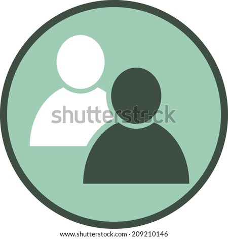 Two people vector icon - stock vector
