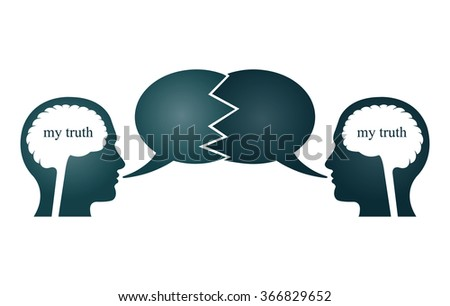 Two person arguing, and protect his own truth. - stock vector