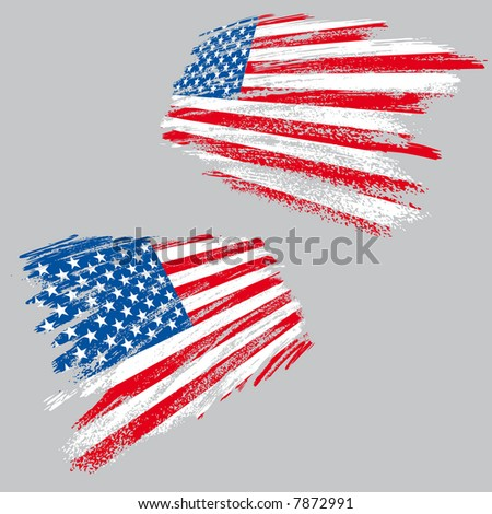 two perspective views of the USA flag in grunge style, all vector - stock vector