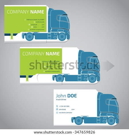 Two piece business card template design with truck and trailer - stock vector