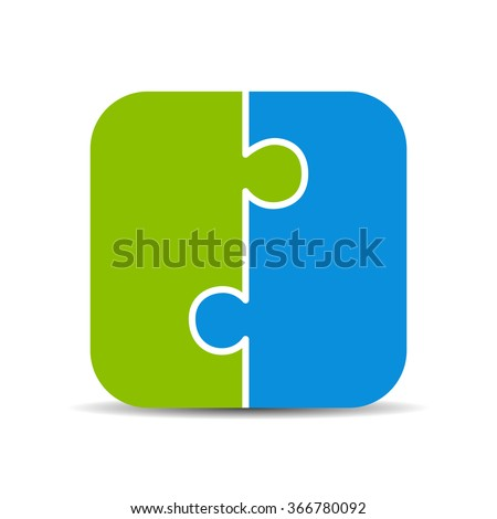 Two piece puzzle diagram illustration isolated on white background - stock vector