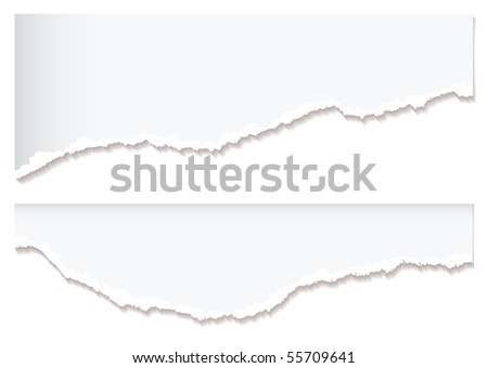 Two pieces of white torn or ripped paper with shadow - stock vector