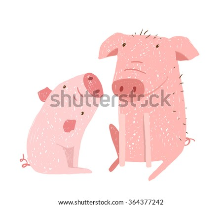 Two Pigs Parent and Child Cartoon. Two domestic animals childish hand drawn illustration. Vector cartoon.  - stock vector