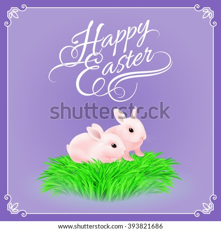 Two Pink Easter Bunny in the Green Grass on Violet Background - stock vector