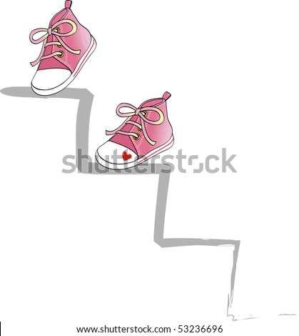 Two pink shoes climb a ladder, vector