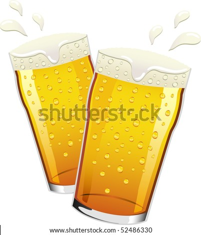 Two pints of lager beer with condensation drops on the glass, toasting