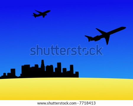 two planes leaving Los Angeles with desert foreground - stock vector