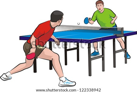 two players play table tennis - stock vector