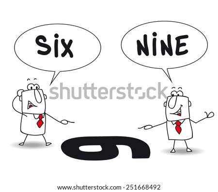 two points of view. Joe and john are right, but their points of view are different. It's for that they disagree - stock vector