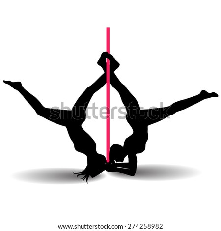 Two Pole dancers with long and short hair do difficult acrobatic exercises  on the pole. Illustration isolated on the white background. Vector illustration - stock vector