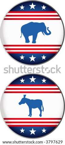 Two political buttons - stock vector