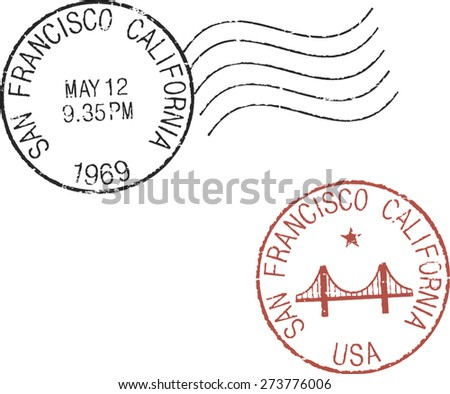 Two postal grunge stamps 'San Francisco' - stock vector