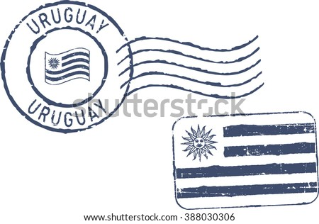 Two postal grunge stamps 'Uruguay'. White background. - stock vector