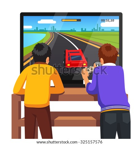 Two preschool kids playing video games together too close to tv screen. Gaming addiction concept. Flat style vector illustration isolated on white background. - stock vector