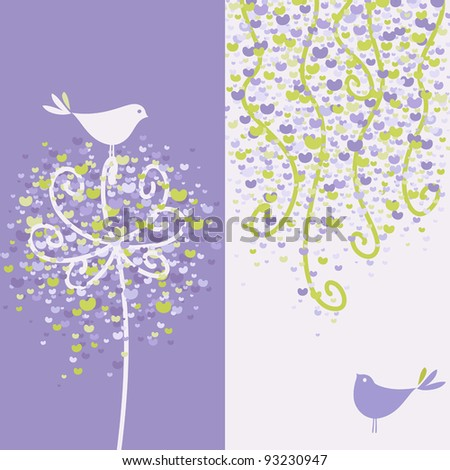 Two pretty love birds and flowery branches. Vector illustration.