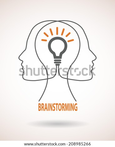 Two profile faces with light bulb. Concept of business idea and brainstorming infographics - stock vector