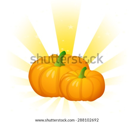 Two Pumpkins with attractive background - stock vector